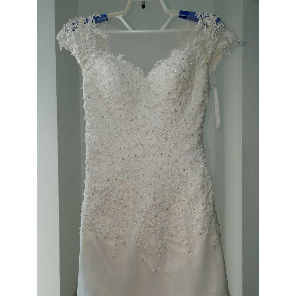 Fansmile Illusion Vestido De Noiva blanc dos nu dentelle sirène robe De mariée 2020 à manches courtes robe De mariée robe De mariée FSM-453M