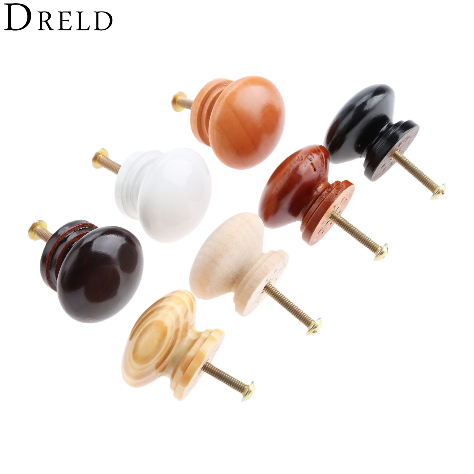 DRELD 5Pcs 34*25mm Wooden Furniture Handles Wood Cabinet Knobs and Handles Kitchen Drawer Wardrobe Door Pulls Furniture Hardware 5pcs vintage furniture door handle pulls antique drawer wardrobe closet cabinet knobs and handles cc 85mm