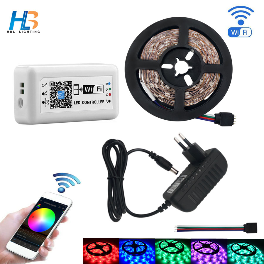 HBL led strip light 5M 2835 5050 RGB LED Strip IP20 IP65 10M 15M led ribbon Non waterproof diode Tape WiFi led controller kit hbl led strip 2835 5m 10m rgb led strip light 15m 20m 3528 smd led ribbon flexible led tape non waterproof 12v adapter full set