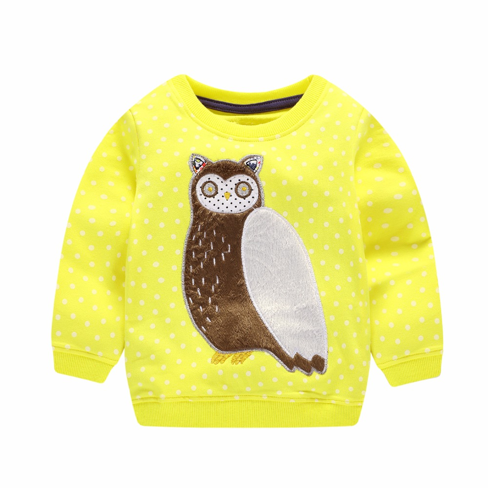 2018 New girls tshirts fashion applique owl children clothes cotton kids clothing knitted patchwork T shirt kids girls