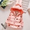 Зимняя Куртка Для девочек Бабочка-узел Пальто Дети Розовый Девочка Куртка Теплый Капюшоном Девушки Outerwaer