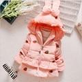 Chaqueta de invierno Para niñas de La Mariposa-nudo Capa de Los Niños de Color Rosa Niña Muchachas de la Chaqueta Con Capucha Caliente Outerwaer
