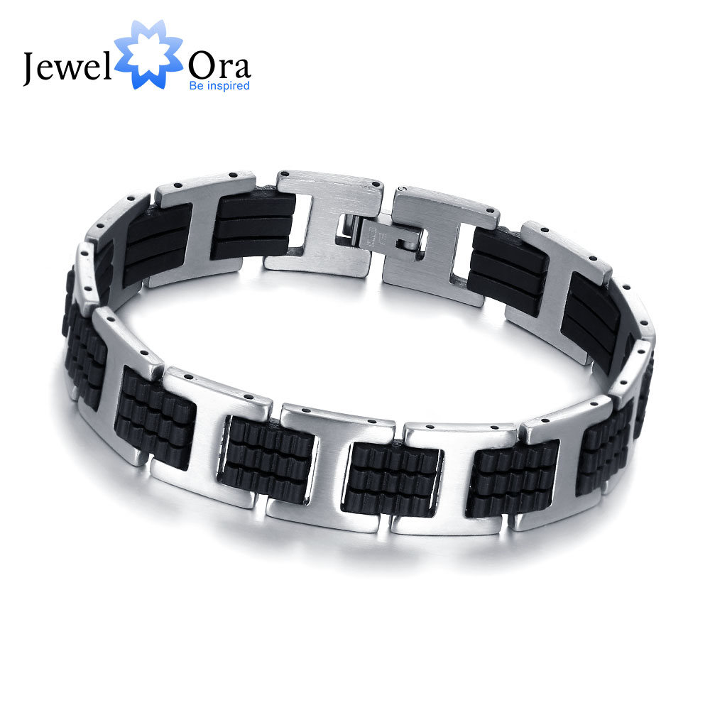 Black Leather Bracelet with Stainless Steel Clasp - 202mm 9v517zghgb