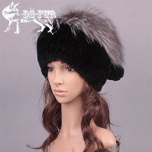 High-end Fur Hat Winter Cute Kintted Rex Rabbit Fur Hats With Fox Fur Pom Poms Top Female Causal Beanies Lady Cap Women's Hat
