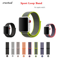 CRESTED Nylon Sport Loop Band For Apple Watch Strap Bracelet 42mm 38mm Breathable Woven Nylon Watchband