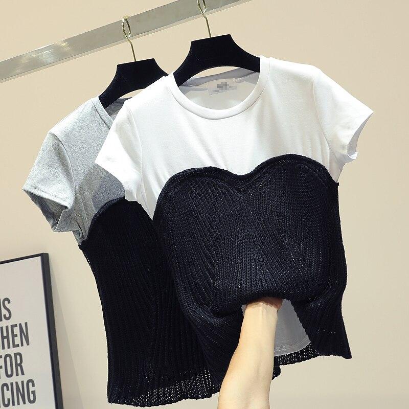 Rétro t-shirt à manches courtes femme 2019 printemps nouvelle garniture corps tricot couture enveloppé poitrine T-shirts hauts filles dames haut court