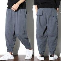 Casual Plus Size L 5XL Men Harem Hiphop Pants Baggy Linen Joggers Wide Legs Patchwork Drop Crotch Trousers Pockets Cross pants