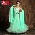 Изысканный большие качели rhinethone светло-зеленый бальный танец конкуренции платья бальные платья девушку вальс танец платье стандарт