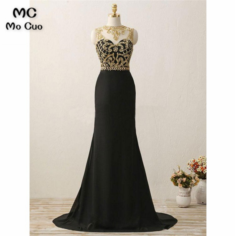 Elegant 2018 Illusion Mermaid Evening Dresses Long With Beading Prom Dress For Teens See Though Formal Evening Dress For Women