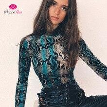 InstaHot Snakeskin Bodysuits Women Sexy Snake Skin High Turtleneck Long Sleeve P