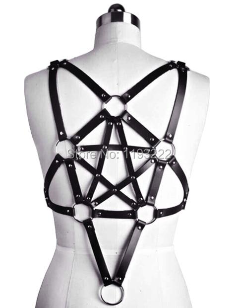 Unisex Handmade Fashion Leather Stars Garters Pentagram Body Bust