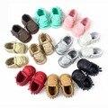 Zapatillas настоящее бросился твердые 2016 лето пу новорожденной девочки мокасины мягкой обуви для Bebe бахрома подошве non-slip обувь чистка