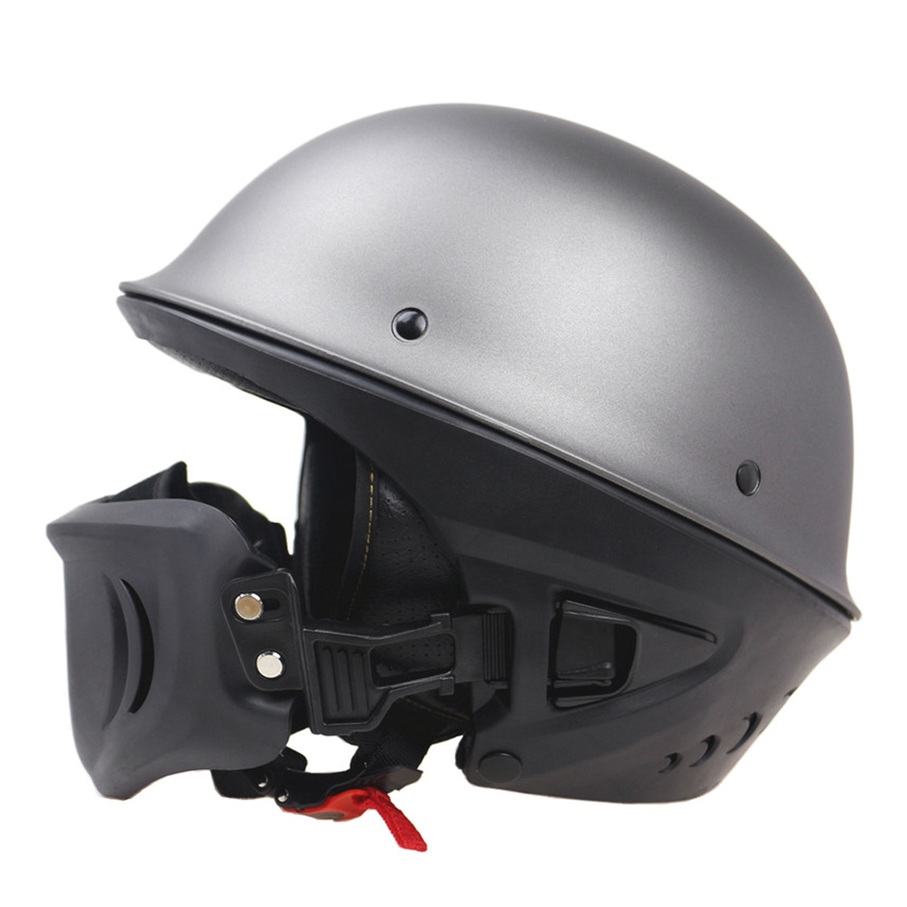 Zombies Racing Half Size Removable Muzzle DOT Motorcycle Helmet Matte Black Matte grey S XL