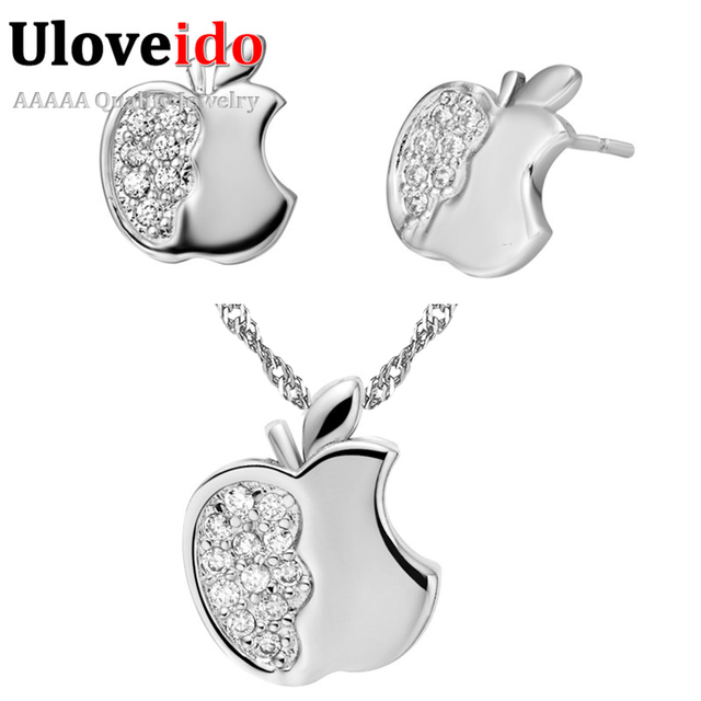 Crystal Kits Silver Jewelry Set Wedding Dress Necklace and Earrings for Women Rose Gold Color Bridal Jewelry Sets Uloveido T195