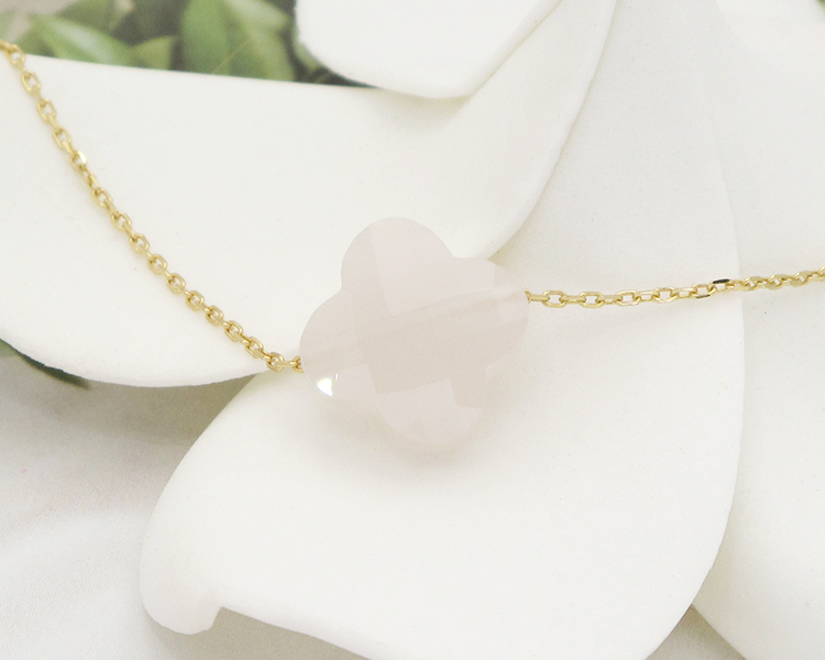 2017 Newest Four Leaf Clover Yellow Gold Crystal Necklace For Girlfriend Gift 19 Kinds Of Color