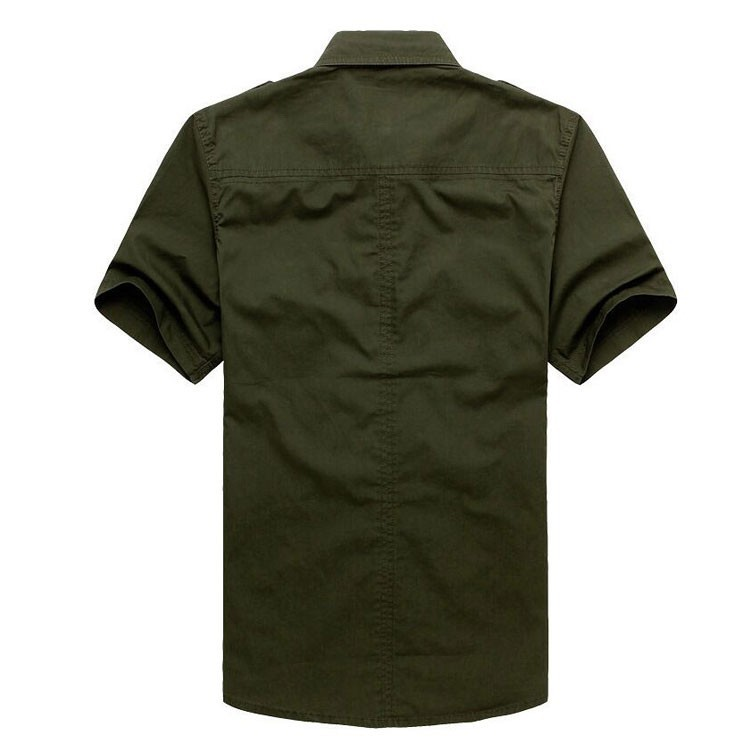 Plus Size xxxxxl Summer Men\'s 100% Cotton Shirts Solid Color Fitness Dress Short Sleeve Shirts Casual Outdoor Men AFS JEEP 5001 (5)