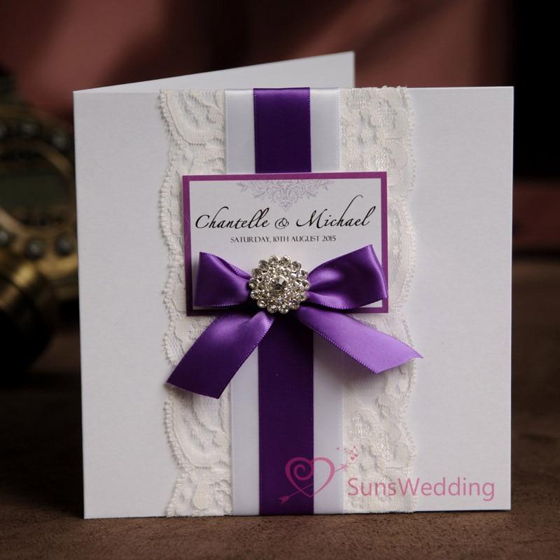 Elegant White Lace Wedding Invitations With Ribbon Bow
