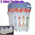 1 pcs Três lados escova ultrafinas escova-escova de dentes escova de cerdas macias adulto