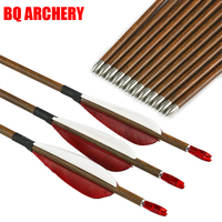 6/12pcs Archery Carbon Arrows ID4.2mm Wood Skin Spine 600 700 800 traditional Bow and arrows Hunting Accessories Shooting