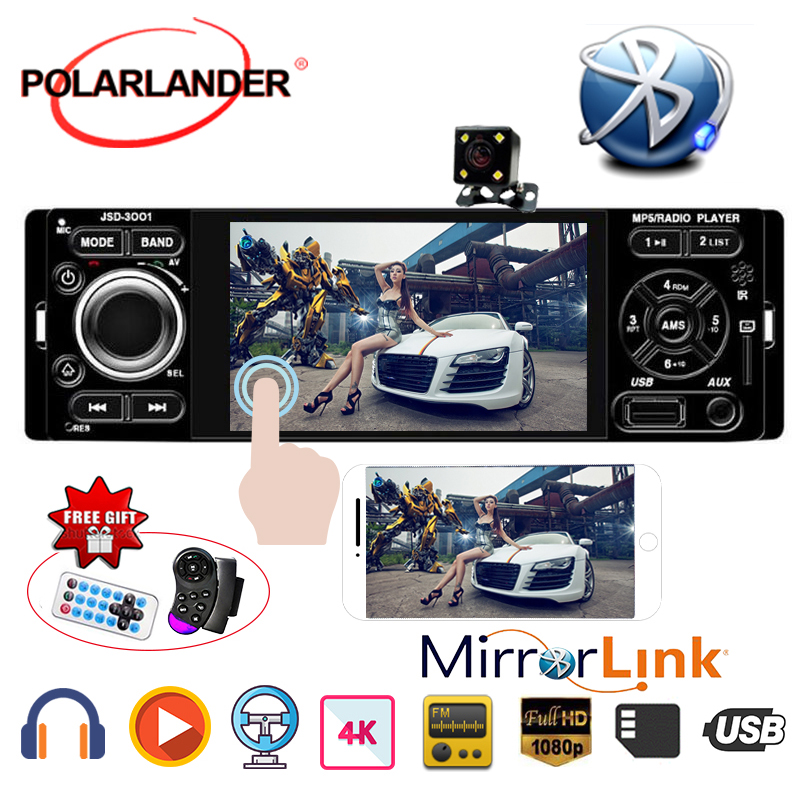 Stereo Bluetooth Car MP5 Player Touch Screen Mirror Link for Andriod Microphone Rear view camera 4 1 Din USB AUX auto audio image