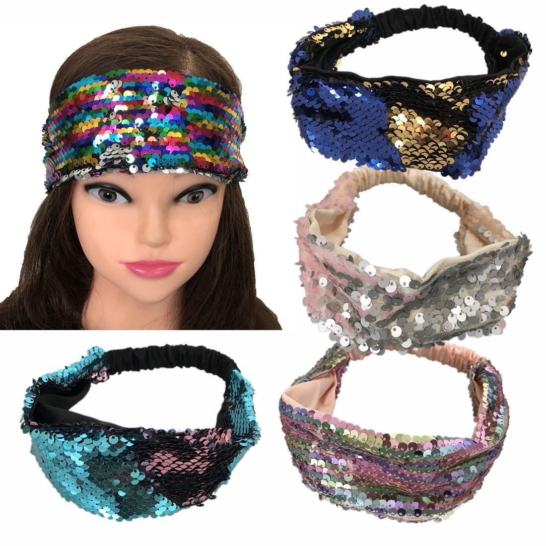 Reversible Women Headband Hair Bands Sequins Head Hoop Birthday Party
