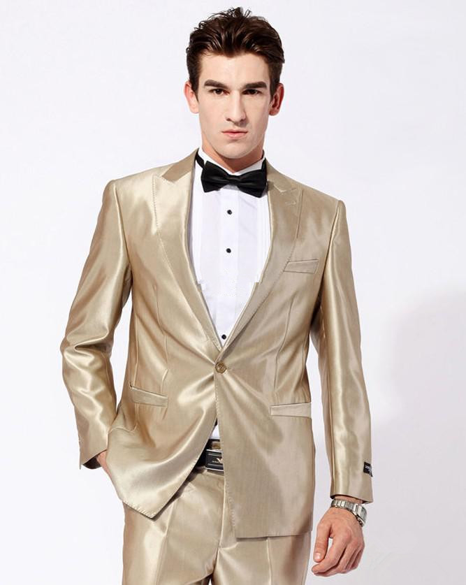 Fashion NEW GOLD Unique design style Men Dress Wedding Banquet Slim ...