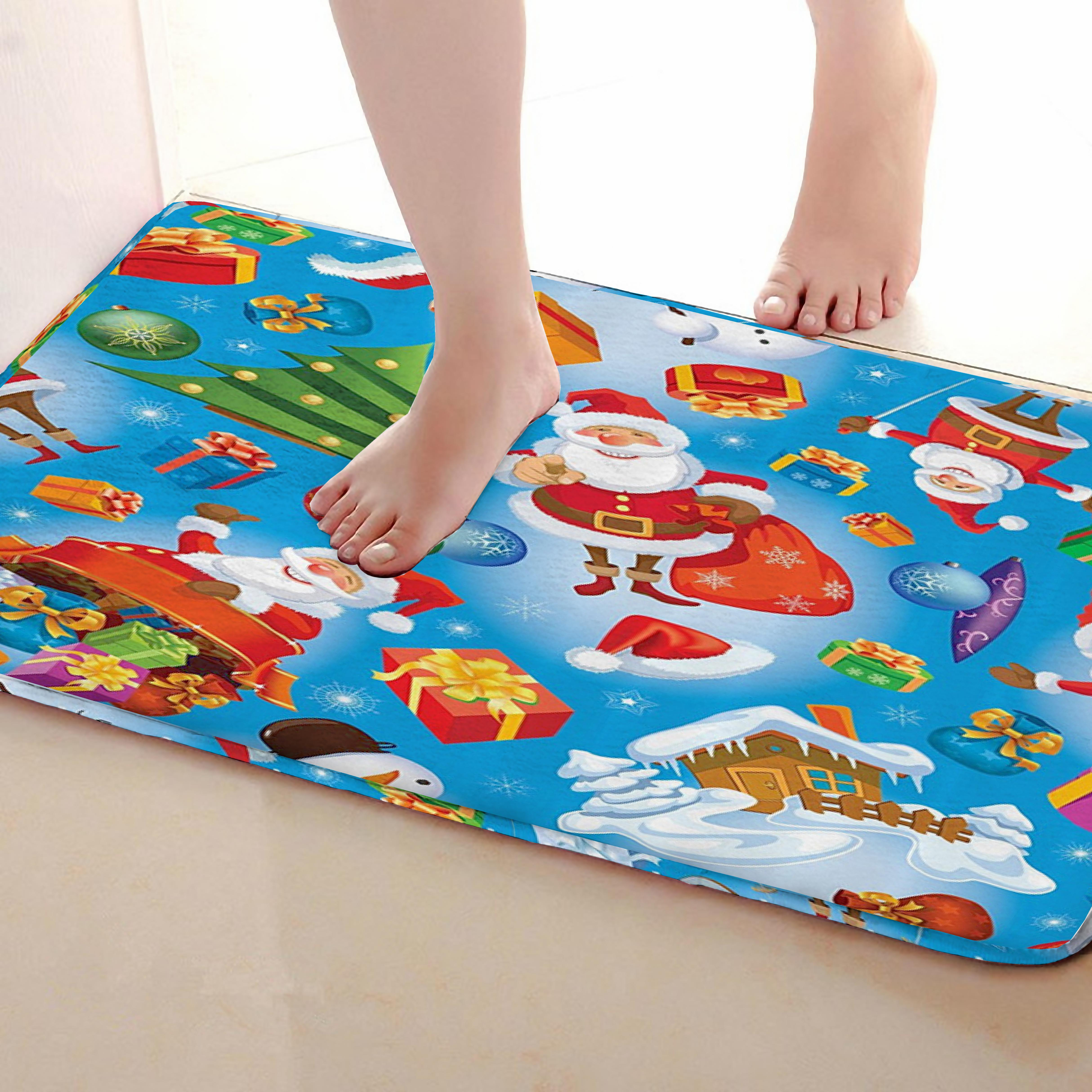 Santa Claus Style Bathroom Mat,Funny Anti skid Bath Mat,Shower Curtains Accessories,Matching Your Shower Curtain