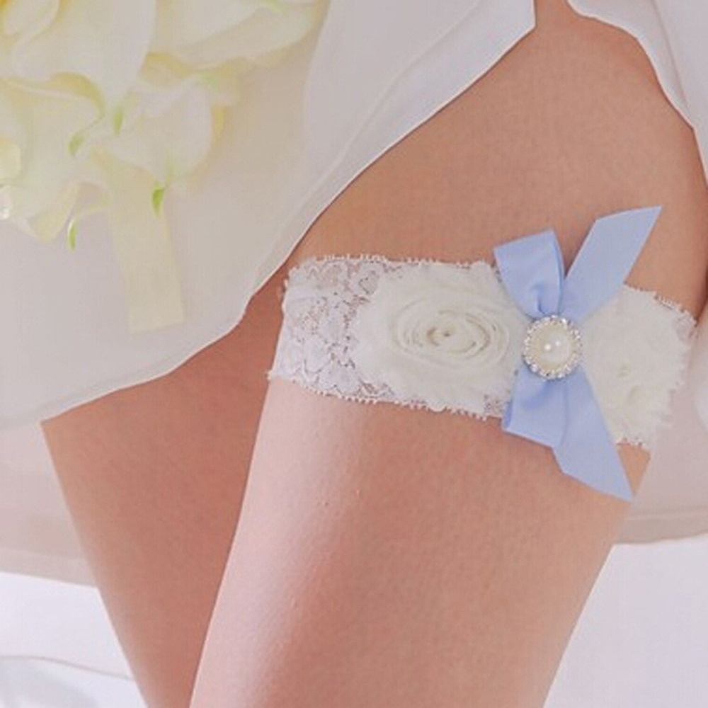 Bow Lace Wedding Garter, Keepsake, Something Blue Custom