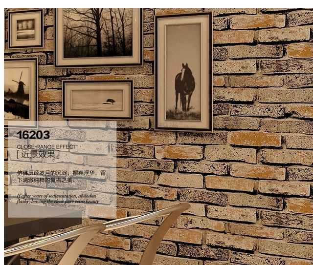 New 3d luxury wood blocks effect stone brick 10m vinyl - Wood effect wallpaper living room ...