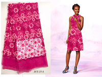 Layla Fuchsia French Lace 3D Flower And Pearls African Tulle Lace Fabric 2017 NIGERIA Net Lace
