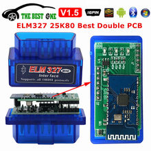 Mejor doble PCB Super Mini ELM327 Bluetooth V1.5 PIC18F25K80 Android IOS ordenador WIFI ELM 327 1,5 25K80 OBD2 escáner disgnóstico de coche(China)