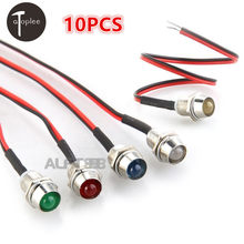 10Pcs AD26C-8L DC 12V LED Metal Indicator Light Waterproof IP65 Signal Lamp Red White Yellow Blue Green Pilot Seal Bulb(China)