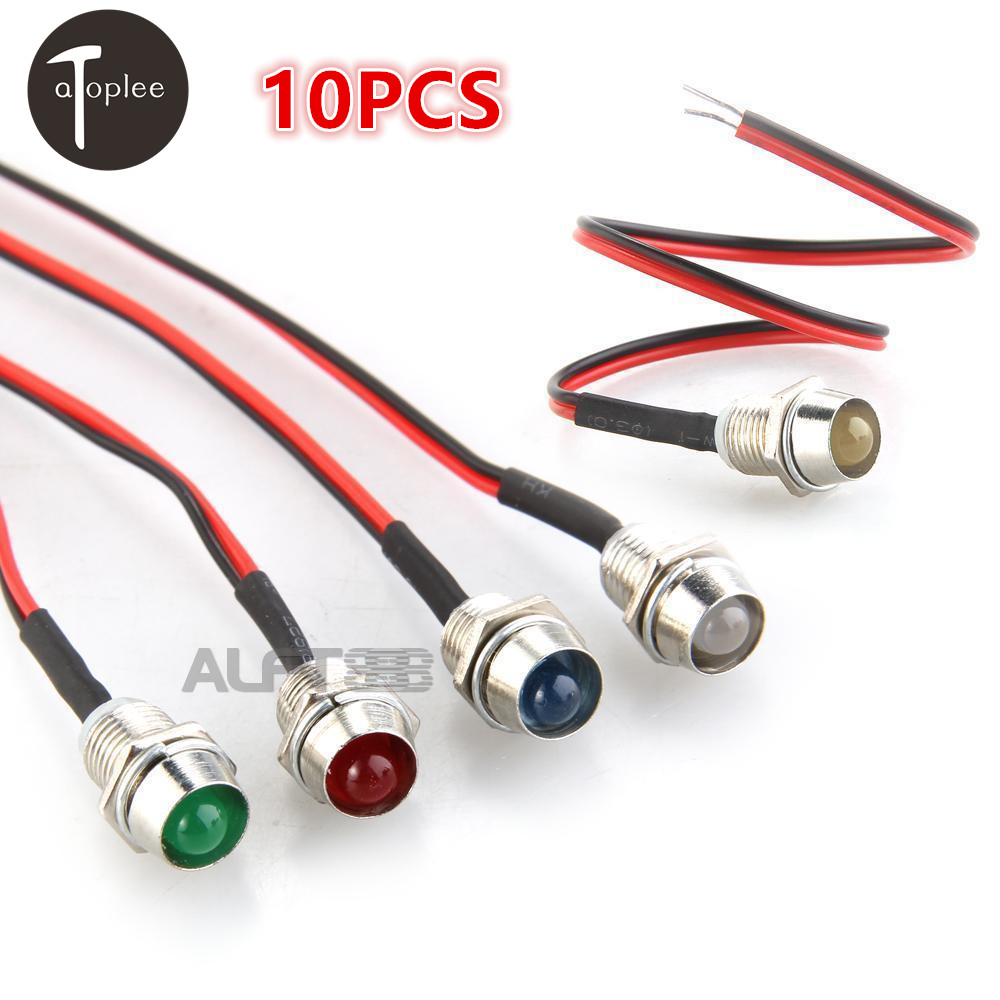 10pcs-ad26c-8l-dc-12v-led-metal-indicator-light-waterproof-ip65-signal-lamp-red-white-yellow-blue-green-pilot-seal-bulb