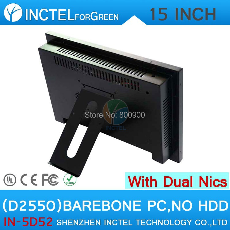 All in one barebone desktop pc with 5 wire Gtouch 15 inch LED touch Dual 1000Mbps