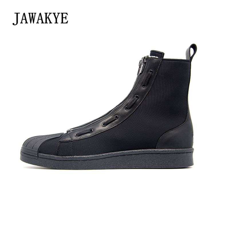 New Arrival Fashion Leather Men Shoes Round Toe Thick Bottom High Top Flat Casusal Shoes Man