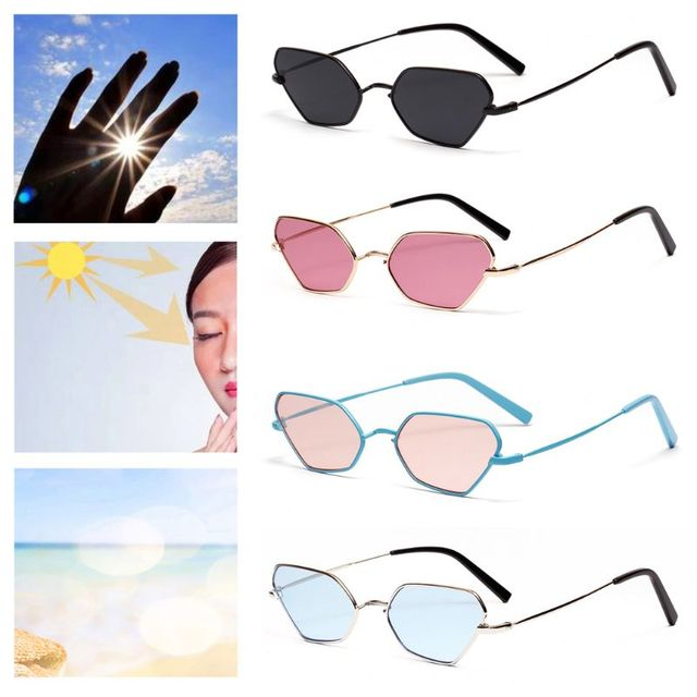 bff1f7b90cc Geometric Metal Frame Sun Glasses UV400 Universal Women Men Fashion Trendy  Protection Eyewear Cat Eye Sunglasses