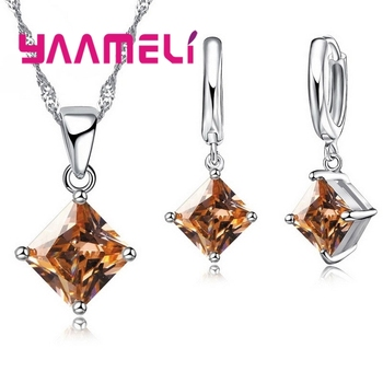 New Arrival 925 Sterling Silver Women Accessories Earrings Jewelry Set With Shiny Square Shinny CZ Necklace Earrings 4