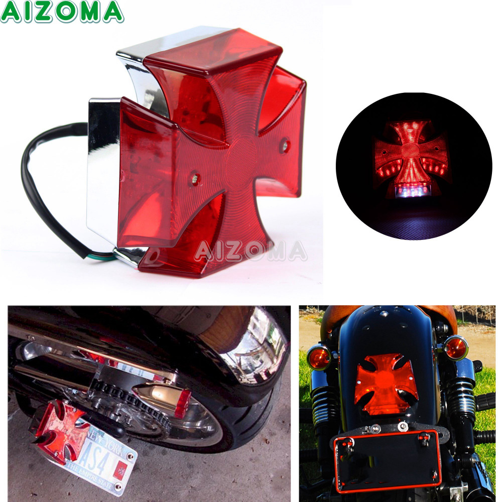Motorcycle Tail Light Choppers Dirt Bike Maltese Cross Led Rear License Plate Tail Light For Most Dual Sport/dirt Bikes Quads Electric Vehicle Parts Automobiles & Motorcycles