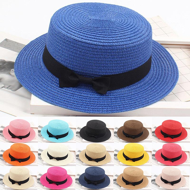 2019 Fashion Summer  Ladies Women Summer Solid Top Hat Sun Visor Sun Straw Beach  Travel Outdoor Hats Caps
