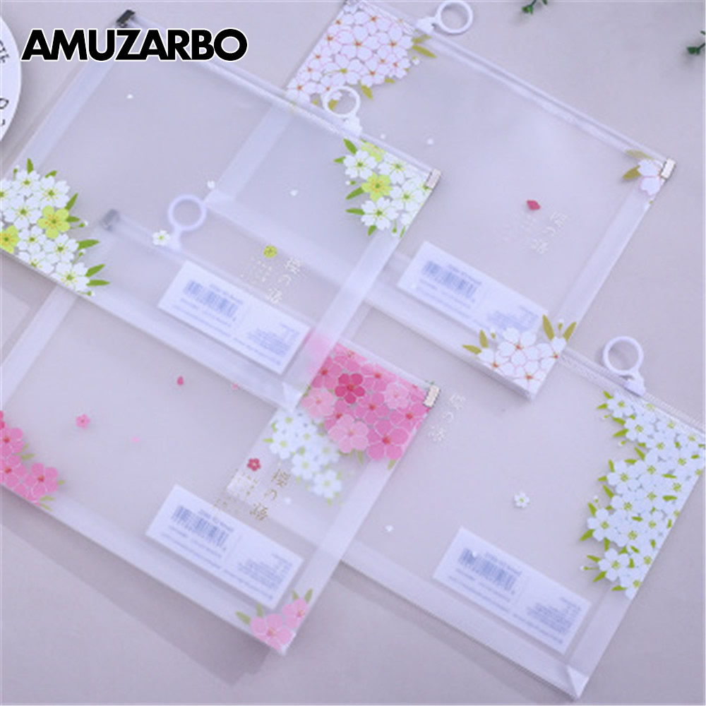 1pcs A5 Clear Document Bag Waterproof Sakura Flower Storage File Stationery Pouch Bag Office Zipper Documents Holder
