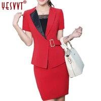 YESVVT 2017 sumer red Blazer Sexy V-neck Formal Office Lady Suit Set Above-knee Skirt size S M L XL XXL 3XL 4XL