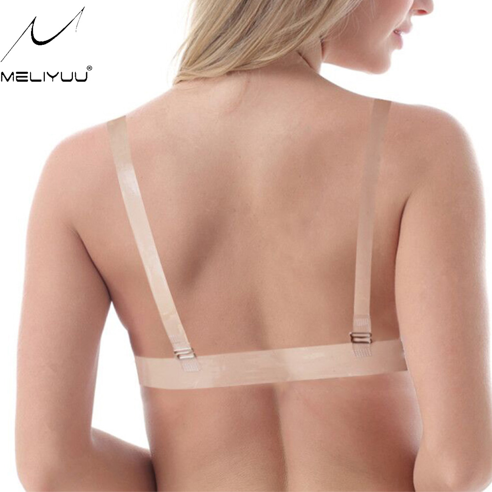 Women Strapless Transparent Adjustable Clear Back Strap Thick Padded Push Up Bra