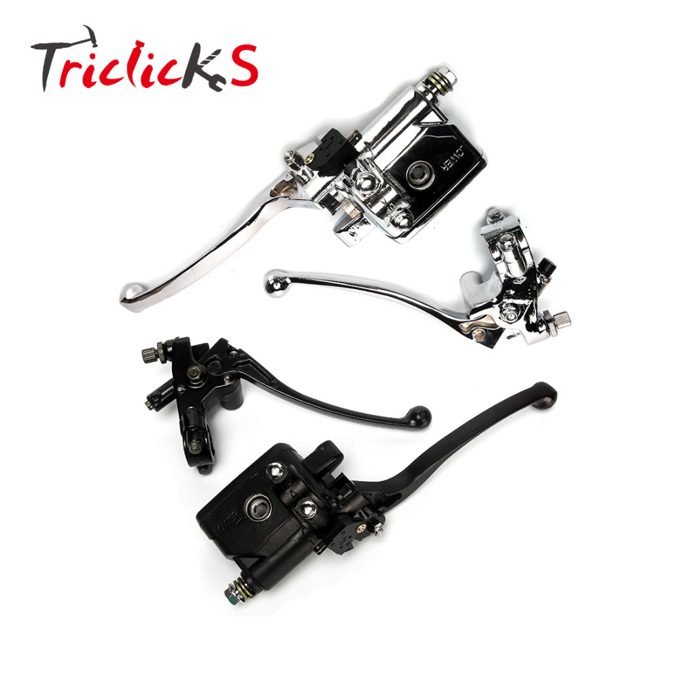 Triclicks Motorcycle Clutch Lever Master Cylinder 7/8 Handlebar Hydraulic Chrome Black CNC Aluminum Motor Brake Levers R L hand for 22mm 7 8 handlebar motorcycle dirt bike universal stunt clutch lever assembly cnc aluminum