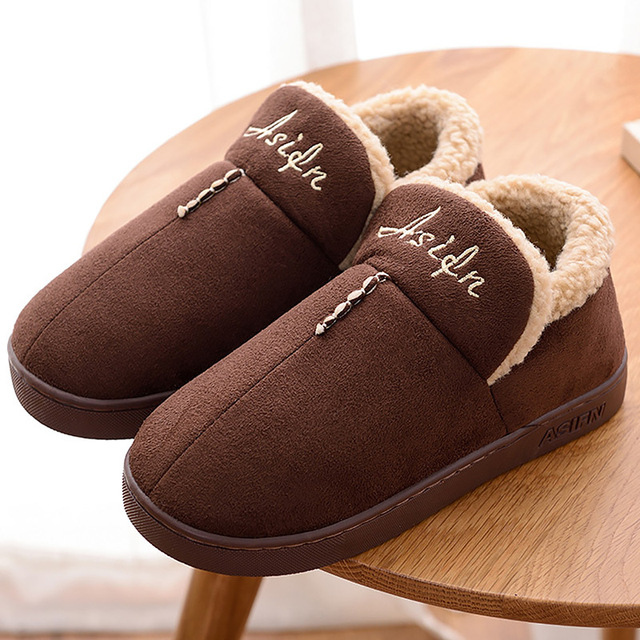 Plush slippers winter home warm shoes 2017 fashion corduroy male slippers solid blue/brown/gray man's shoes plus size 38-46