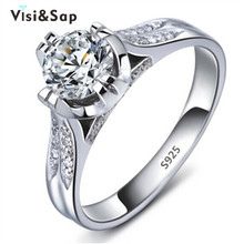 Vissap S925 wedding ring CZ diamond jewelry round white gold filled bague engagement rings for women accessories VSR075