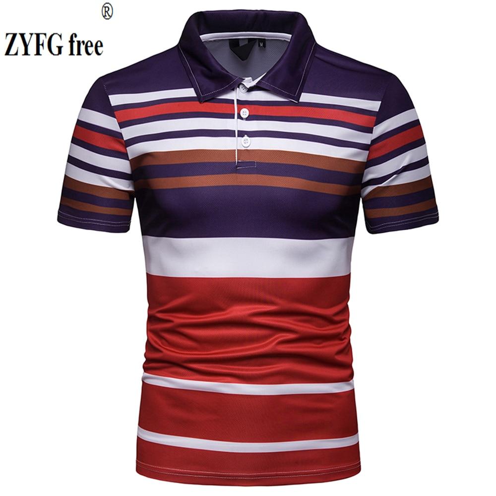 YONGM Mens Short Sleeve Turn Down Collar Printing Striped Slim Fit Patchwork Polo Shirts