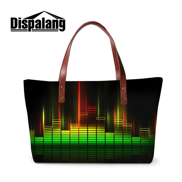 Dispalang Tours Ladies  Handbag at Low Price Fashion Trends Lady Bags  Design Your Own Polyester Tote Bag 3D Music Note Printed da819df777dc9
