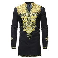 Men's Hipster Long Sleeve African Clothes Dashiki Longline T-shirt 2018 Traditional Tribal Dashiki Tshirt Men Casual Tops Tees(China)