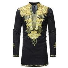Men's Hipster Long Sleeve African Clothes Dashiki Longline T-shirt 2018 Traditional Tribal Dashiki Tshirt Men Casual Tops Tees
