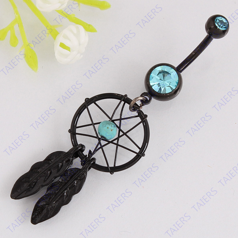 Beautiful black Dream catcher Anello ombelico moda body piercing gioielli belly bar 14G acciaio inossidabile 316L bar Nickel-free
